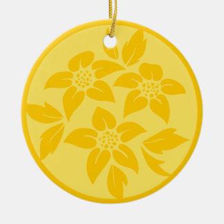 黄色い花の結婚式のクリスマスのオーナメントの記念品 セラミックオーナメント