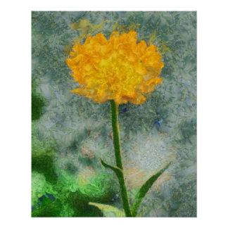 黄色い花の絵画 ポスター