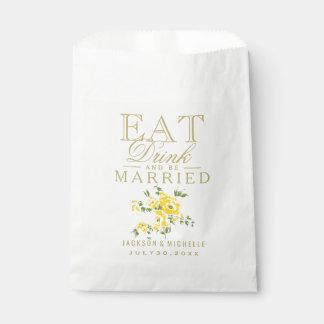 黄色い花柄は、飲み物食べ、結婚した- DIYの文字です フェイバーバッグ