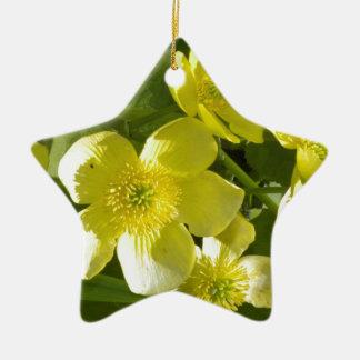 黄色い花柄 セラミックオーナメント