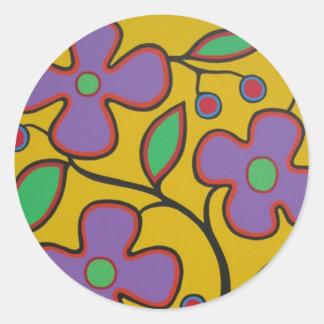 黄色い花柄 ラウンドシール