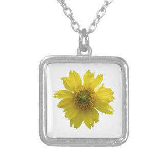 黄色い花 シルバープレートネックレス