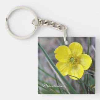 黄色い花Keychain -キンボウゲの自然モンタナ キーホルダー