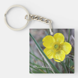 黄色い花Keychain -キンボウゲの自然モンタナ 正方形(両面)アクリル製キーホルダー
