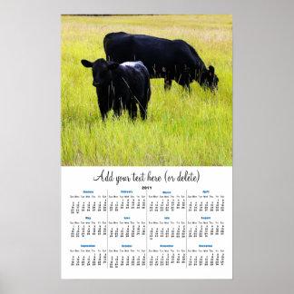 黄色い草2011の壁掛けカレンダーの黒いアンガス ポスター