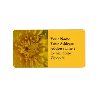 黄色い菊の花の宛名ラベル 宛名ラベル