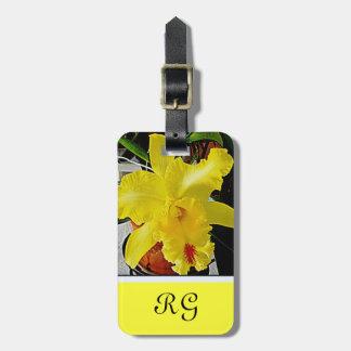 黄色い蘭の花旅行 ラゲッジタグ