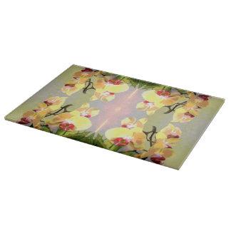 黄色い蘭パターン カッティングボード