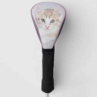 黄色い虎猫の子ネコの絵画-かわいい元の猫A ゴルフヘッドカバー