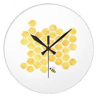 黄色い蜂の柱時計の台所子供部屋 ラージ壁時計