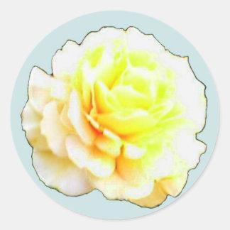 黄色い蜂蜜のばら色のステッカー ラウンドシール