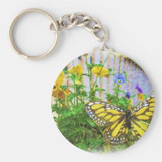 黄色い蝶およびビオラの花 キーホルダー