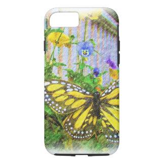 黄色い蝶およびビオラの花 iPhone 8/7ケース