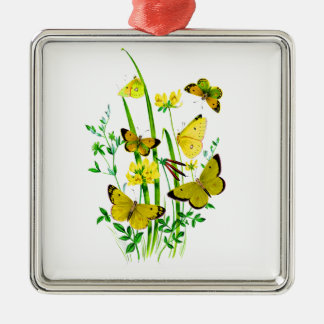 黄色い蝶および黄色い野生の花 メタルオーナメント