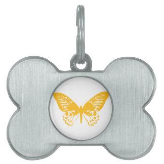 黄色い蝶 ペットネームタグ