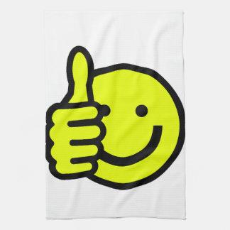 黄色い親指はスマイリーを持ち上げます キッチンタオル