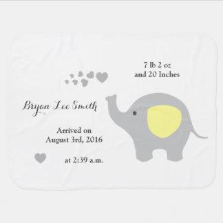 黄色い象のベビーの誕生Statsの発表の男の子 ベビー ブランケット