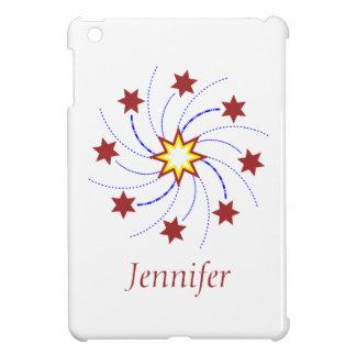 、黄色い赤い、花火の星の渦巻-白で青い iPad MINIカバー