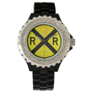 黄色い踏切の印の腕時計 腕時計