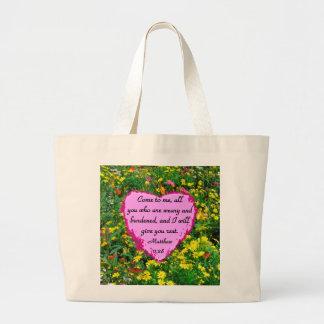 黄色い野生の花のMATTHEWの11:28の写真のデザイン ラージトートバッグ
