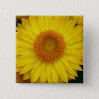 黄色い開花のテーマの2インチの正方形ボタン 5.1CM 正方形バッジ