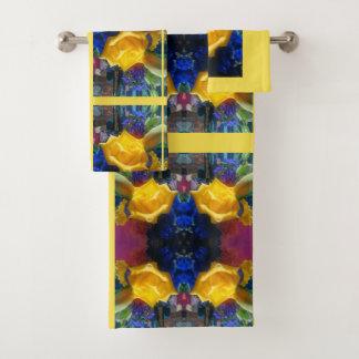 黄色い開花は上がりました バスタオルセット