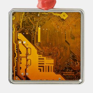 黄色い電子回路board.JPG メタルオーナメント