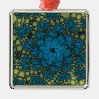黄色い青の抽象芸術の地獄 メタルオーナメント
