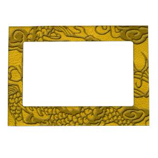 黄色い革プリントのエンボスのドラゴン マグネットフレーム