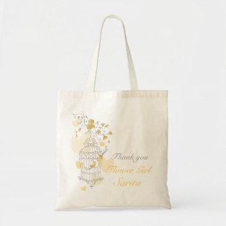 黄色い鳥籠の結婚式のフラワー・ガールのバッグ トートバッグ