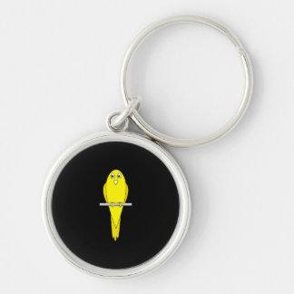 黄色い鳥。 カナリア。 黒 キーホルダー