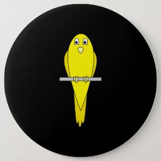 黄色い鳥。 カナリア。 黒 缶バッジ