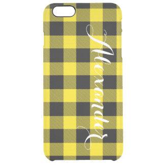 黄色い黒いバッファローの点検の格子縞の名前のモノグラム クリア iPhone 6 PLUSケース