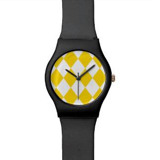 黄色い(バナナの黄色の) ~のダイヤモンドパターン 腕時計