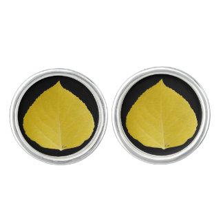 黄色い《植物》アスペンの葉#5 カフスリンク