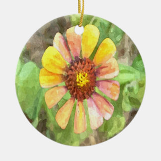 黄色い《植物》百日草の花 セラミックオーナメント