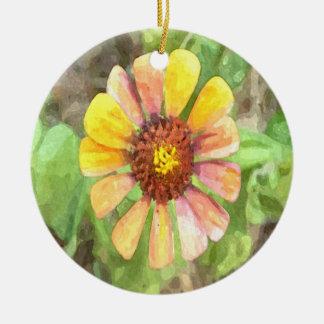 黄色い《植物》百日草の花 陶器製丸型オーナメント