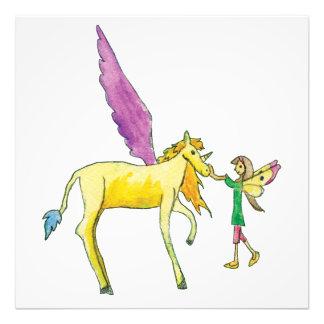 黄色いAlicornの子馬の馬を持つ小妖精や小人 フォトプリント