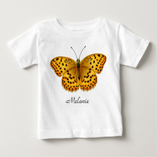 黄色いArgynnisのFritillaryの蝶ベビーのワイシャツ ベビーTシャツ
