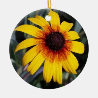 黄色いConeflower セラミックオーナメント