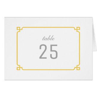 黄色いDecoのシックなテーブル数 グリーティングカード