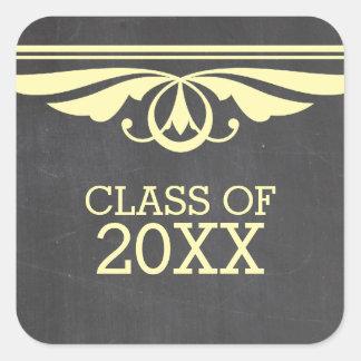 黄色いDecoの黒板の卒業のステッカー スクエアシール