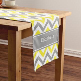 黄色いDkの灰色白LGシェブロンの灰色の一流のモノグラム ショートテーブルランナー