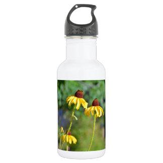 黄色いechinaceaの花のプリント ウォーターボトル