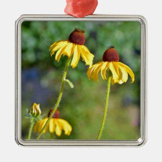 黄色いechinaceaの花のプリント メタルオーナメント