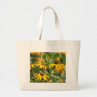 黄色いechinacea ラージトートバッグ