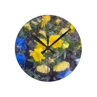 """""""黄色いPANSEYの庭カスタムな柱時計"""" ラウンド壁時計"""