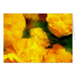 黄色いRanunculusの花の芸術の挨拶状 カード