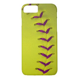 黄色いw/Purpleは野球かソフトボールをステッチします iPhone 8/7ケース