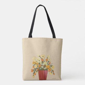 黄色およびオレンジの花のファインアートの絵画 トートバッグ